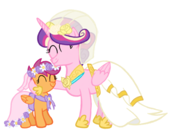 Size: 2732x2048 | Tagged: a canterlot wedding, alicorn, alternate universe, artist:turnaboutart, aunt and niece, clothes, dress, flower, flower filly, flower girl, flower girl dress, flower in hair, marriage, pegasus, princess cadance, safe, scootaloo, wedding, wedding dress, wedding veil