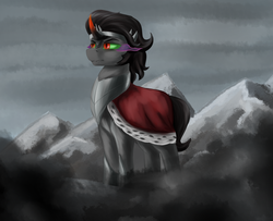 Size: 2200x1782 | Tagged: armor, artist:dukevonkessel, cape, clothes, curved horn, fangs, horn, king sombra, male, mountain, pony, safe, solo, sombra eyes, stallion, unicorn
