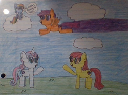 Size: 824x615   Tagged: safe, artist:nightshadowmlp, apple bloom, rainbow dash, scootaloo, sweetie belle, earth pony, pegasus, pony, unicorn, cloud, cmc day, cutie mark crusaders, female, flying, lined paper, mare, older, older apple bloom, older rainbow dash, older scootaloo, older sweetie belle, scootaloo can fly, traditional art