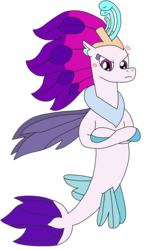 Size: 1807x3111 | Tagged: safe, artist:supahdonarudo, queen novo, seapony (g4), my little pony: the movie, angry, cross-popping veins, crossed hooves, queen novo is not amused, simple background, transparent background