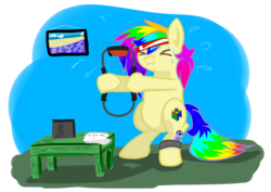 Size: 4093x2894 | Tagged: artist:khaki-cap, chubby, nintendo 64, nintendo derpy, nintendo switch, oc, oc:rainbow tashie, pony, ring fit adventures, safe, sports