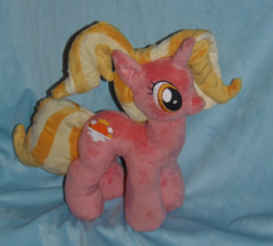 Size: 2225x2000 | Tagged: safe, artist:crazyditty, luster dawn, pony, unicorn, female, irl, mare, photo, plushie, smiling