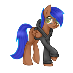 Size: 894x894 | Tagged: artist:alleyrosebeth, clothes, glasses, hoodie, oc, oc:odyssey flash, oc only, pegasus, safe