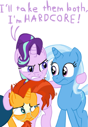 Size: 336x485 | Tagged: safe, artist:loserofhope, starlight glimmer, sunburst, trixie, pony, unicorn, bisexual, female, lesbian, lesbian in front of boys, male, mare, obscure reference, polyamory, shipping, stallion, starburst, startrix, startrixburst, straight