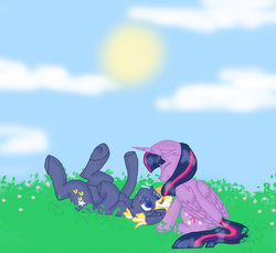 Size: 800x733 | Tagged: safe, artist:cslie, star tracker, twilight sparkle, alicorn, butterfly, earth pony, pony, butterfly on nose, colored pupils, cute, ear fluff, eyes closed, female, flower, insect on nose, legs in air, male, mare, on back, shipping, smiling, stallion, straight, trackerbetes, twiabetes, twilight sparkle (alicorn), twitracker