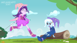 Size: 8000x4500 | Tagged: safe, artist:metalhead97, starlight glimmer, trixie, equestria girls, barrette, boots, cape, clothes, commission, cute, diatrixes, dress, duo, duo female, fall formal outfits, female, friendship, fun, glimmerbetes, hat, high heel boots, jump rope, jumping, log, looking at each other, matching outfits, mountain, outfit, shoes, show accurate, showing off, skipping rope, smiling, smirk, trixie's cape, trixie's hat