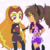 Size: 640x640 | Tagged: safe, artist:rileyav, adagio dazzle, human, equestria girls, alternate hairstyle, belt, boots, bracelet, catra, clothes, clothes swap, colored sclera, cosplay, costume, crossover, evening gloves, eyeshadow, female, fingerless elbow gloves, fingerless gloves, gloves, jacket, jewelry, leather jacket, long gloves, makeup, she-ra and the princesses of power, shoes, shorts, simple background, spiked wristband, white background, wristband