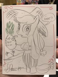Size: 1536x2048 | Tagged: safe, artist:andypriceart, applejack, pony, semi-anthro, beach, bipedal, clothes, coconut bikini, dexterous hooves, drink, drinking straw, food, freckles, grass skirt, hat, hoof hold, looking at you, pineapple, pineapplejack, silly, silly pony, skirt, straw hat, traditional art, who's a silly pony