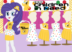 Size: 2337x1700 | Tagged: artist:equestriaguy637, banner, bbc, bbc children in need, bear ears, bucket, charity, clothes, curtains, cute, dress, equestria girls, equestria girls series, fashion, fashion show, legs, looking at you, mannequin, miniskirt, pole, pose, pudsey bear, rarity, safe, shirt, skirt