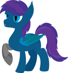 Size: 4278x4573 | Tagged: safe, artist:cosmiceclipsed, derpibooru exclusive, oc, oc only, oc:stardust, oc:stardust(cosmiceclipse), bat pony, pony, fanfic:stardust's odyssey, amputee, bat pony oc, bat wings, ear fluff, fangs, lineless, male, membranous wings, prosthetic leg, prosthetic limb, prosthetics, robotic arm, robotic leg, simple background, slit eyes, slit pupils, solo, stallion, transparent background, wings