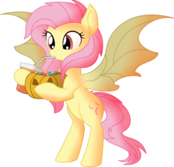Size: 6623x6362 | Tagged: absurd resolution, artist:cyanlightning, bat ears, bat ponified, bat pony, bipedal, candy, cute, fangs, female, flutterbat, fluttershy, food, halloween, holiday, jack-o-lantern, mare, nightmare night, pony, pumpkin, race swap, safe, shyabates, shyabetes, simple background, soda, solo, spread wings, .svg available, transparent background, vector, wings