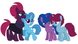 Size: 1920x1080 | Tagged: safe, artist:徐詩珮, fizzlepop berrytwist, spring rain, tempest shadow, oc, oc:spring grezt, oc:storm lightning, pony, unicorn, alternate universe, broken horn, clothes, cute, family, female, horn, lesbian, magical lesbian spawn, mare, mother and daughter, next generation, offspring, parent:spring rain, parent:tempest shadow, parents:springshadow, scarf, shipping, simple background, springbetes, springshadow, tempestbetes, transparent background, vector