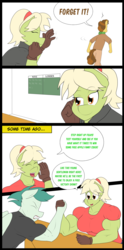 Size: 3168x6376 | Tagged: safe, artist:matchstickman, grand pear, granny smith, oc, unnamed oc, earth pony, pegasus, anthro, comic:free cider, arm wrestling, biceps, breasts, busty granny smith, cider, clothes, comic, deltoids, dialogue, female, flashback, gloves, granny smash, gritted teeth, male, mare, muscles, scoreboard, shirt, simple background, speech bubble, stallion, sweat, trio, white background, young grand pear, young granny smith, younger