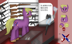 Size: 1465x900 | Tagged: safe, artist:99999999000, oc, oc only, oc:wilson cotes, pony, ak-47, ar15, assault rifle, chinese, counter, gun, mp5, reference sheet, rifle, shotgun, solo, steyr aug, weapon