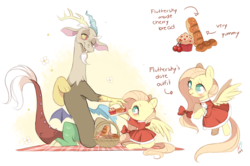 Size: 900x598 | Tagged: safe, artist:ipun, discord, fluttershy, draconequus, pegasus, pony, basket, blushing, bow, bread, chibi, clothes, cute, discoshy, discute, dress, female, food, hair bow, male, mare, muffin, no pupils, picnic blanket, shipping, shyabetes, sitting, straight