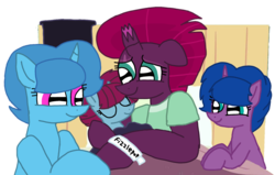 Size: 1697x1080 | Tagged: safe, artist:徐詩珮, fizzlepop berrytwist, spring rain, tempest shadow, oc, oc:spring grezt, oc:storm lightning, pony, unicorn, alternate universe, baby, baby pony, bed, broken horn, clothes, cute, family, female, filly, horn, hospital, hospital bed, hospital gown, lesbian, magical lesbian spawn, mare, mother and daughter, next generation, offspring, parent:spring rain, parent:tempest shadow, parents:springshadow, scarf, shipping, siblings, sisters, springbetes, springshadow, tempestbetes