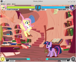 Size: 644x526 | Tagged: female, fighting is magic, fluttershy, game, golden oaks library, linux, mare, pony, safe, tribute edition, twilight sparkle, unicorn