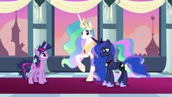 Size: 1920x1080 | Tagged: safe, screencap, princess celestia, princess luna, twilight sparkle, alicorn, pony, the last problem, messy mane, twilight sparkle (alicorn)
