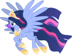 Size: 8398x6492 | Tagged: safe, artist:decprincess, edit, vector edit, twilight sparkle, alicorn, hippogriff, alternate timeline, alternate universe, beak, crown, flying, hippogriffied, jewelry, necklace, parent:ocean flow, parent:sky beak, regalia, simple background, smiling, solo, species swap, transparent background, twilight sparkle (alicorn), vector
