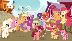 Size: 1900x1087 | Tagged: safe, artist:prismaticstars, artist:sebaslovetwilight, artist:sketchmcreations, artist:unoriginai, edit, edited screencap, screencap, apple bloom, applejack, big macintosh, cheerilee, little mac, luster dawn, scootaloo, sugar belle, winona, oc, oc:ambrosia, oc:bobbin' apples, oc:buckaroo, oc:huckleberry blazer, oc:orange pippin applebutter, oc:paradise punch, oc:red delicious, earth pony, pegasus, pony, unicorn, the last problem, spoiler:s09e26, alternate hairstyle, alternate timeline, baby, baby pony, blushing, cheerijack, colored ears, colt, cute, female, filly, flying, hoof polish, lesbian, magical lesbian spawn, male, offspring, parent:apple bloom, parent:applejack, parent:big macintosh, parent:cheerilee, parent:rarity, parent:scootaloo, parent:sugar belle, parents:cheerijack, parents:rarijack, parents:scootabloom, parents:sugarmac, scootabloom, shipping, straight, sugarmac