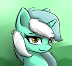 Size: 356x328 | Tagged: safe, artist:d.w.h.cn, lyra heartstrings, pony, unicorn, abstract background, bust, cute, eye clipping through hair, female, lidded eyes, lowres, lyrabetes, mare, portrait, smiling, solo