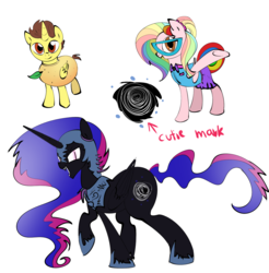 Size: 1200x1218 | Tagged: safe, artist:candyclumsy, oc, oc:candy clumsy, oc:queen galaxia, oc:queen nightmare pulsar, oc:tommy the human, alicorn, pegasus, alicorn oc, clothes, colored sketch, colt, commissioner:bigonionbean, costume, cute, cutie mark, dawwww, design, female, flank, food, fusion, fusion:queen galaxia, fusion:queen nightmare pulsar, glasses, male, mango, mare, nightmare night costume, sketch, wide hips, writer:bigonionbean