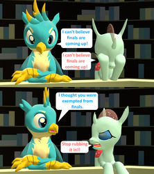 Size: 1920x2160 | Tagged: 3d, artist:red4567, bookshelf, changedling, changeling, comic, dialogue, duo, female, gallus, griffon, male, ocellus, safe, source filmmaker, speech bubble, teenager