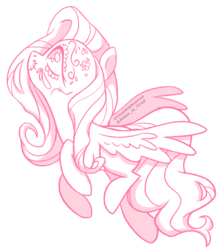 Size: 1280x1451 | Tagged: artist:virtualkidavenue, cute, dia de los muertos, face paint, female, fluttershy, looking up, mare, monochrome, pegasus, pony, profile, safe, shyabetes, simple background, skull, smiling, solo, spread wings, white background, wings