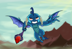 Size: 3853x2647 | Tagged: safe, artist:oinktweetstudios, princess ember, dragon, bloodstone scepter, dragon lord ember, dragoness, female, flying, high res, mountain, solo