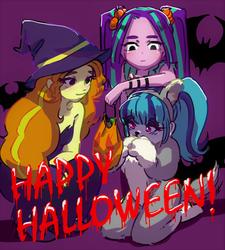 Size: 1800x2000 | Tagged: safe, artist:amazingpuffhair, adagio dazzle, aria blaze, sonata dusk, human, equestria girls, adoragio, animal costume, ariabetes, bunny costume, clothes, costume, cute, halloween, happy halloween, holiday, sonatabetes, text, the dazzlings, witch