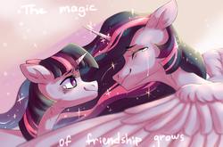 Size: 2941x1939 | Tagged: safe, artist:shininglovelystar, twilight sparkle, alicorn, pony, unicorn, the last problem, crying, digital art, duality, duo, end of ponies, ethereal mane, eyes closed, older, older twilight, princess twilight 2.0, self ponidox, starry mane, tears of joy, teary eyes, time paradox, twilight sparkle (alicorn), twolight, unicorn twilight