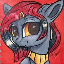 Size: 1477x1477 | Tagged: safe, artist:gleamydreams, oc, oc only, oc:serpentine, earth pony, pony, female, freckles, hairclip, jewelry, looking at you, mare, necklace, orange eyes, red hair, smiling, smiling at you, solo, traditional art