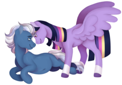 Size: 1696x1188 | Tagged: safe, artist:unicorngutz, night glider, twilight sparkle, alicorn, pegasus, pony, alternate hairstyle, belly button, female, lesbian, looking at each other, mare, missing cutie mark, pregnant, redesign, shipping, simple background, transparent background, twiglider, twilight sparkle (alicorn)