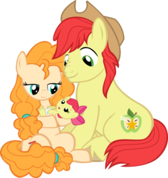 Size: 8488x9000 | Tagged: safe, artist:mrkat7214, apple bloom, bright mac, pear butter, earth pony, pony, absurd resolution, adorabloom, apple bloom's bow, baby, baby apple bloom, baby pony, bow, brightabetes, cowboy hat, cute, daaaaaaaaaaaw, diaper, father and daughter, female, foal, hair bow, hat, holding a pony, husband and wife, male, mare, mother and daughter, pearabetes, simple background, stallion, transparent background, trio, vector, younger