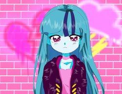 Size: 2048x1578   Tagged: safe, artist:rileyav, sonata dusk, equestria girls, rainbow rocks, alternate hairstyle, anime, choker, cloud, cute, female, graffiti, heart, looking at you, loose hair, solo, sonatabetes, wall