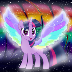 Size: 1000x1000 | Tagged: alicorn, artist:n0kkun, edit, female, mare, pony, rainbow, rainbow roadtrip, safe, solo, spoiler:rainbow roadtrip, twilight sparkle, twilight sparkle (alicorn), wing bling
