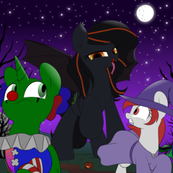 Size: 3000x3000 | Tagged: safe, artist:acersiii, artist:shelikof launch, derpibooru exclusive, oc, oc only, oc:christian clefnote, oc:luminous siren, oc:seraphine night, alicorn, bat pony, earth pony, pony, unicorn, clothes, clown, costume, giant pony, hat, imminent vore, macro, night, size difference, wingless, witch hat