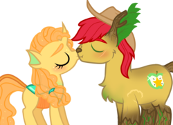 Size: 1679x1217 | Tagged: alternate universe, artist:unoriginai, blushing, brightbutter, bright mac, changeling, changelingified, cute, female, hengstwolf, kissing, male, original species, pear butter, safe, shipping, species swap, straight, timber pony, timber wolf, transparent, werewolf