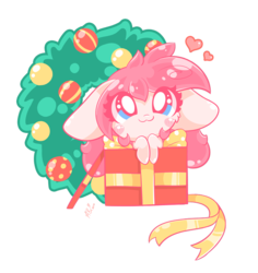 Size: 800x847 | Tagged: artist:hungrysohma, blushing, chibi, earth pony, female, heart, oc, oc:sohma, ornament, pony, presenting, safe, simple background, transparent background, wreath