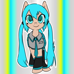 Size: 1280x1280 | Tagged: anime, anime style, artist:fluor1te, boots, clothes, collar, colored, cute, earth pony, female, flat colors, gradient background, hatsune miku, leggings, mare, necktie, pigtails, pleated skirt, ponified, pony, request, safe, shoes, skirt, smiling, solo, twintails