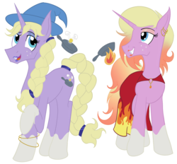 Size: 1400x1300 | Tagged: artist:sixes&sevens, braid, braided tail, cloak, clothes, ear piercing, earring, eyeshadow, female, freckles, hat, jewelry, lipstick, lup, makeup, male, piercing, ponified, pony, safe, simple background, socks (coat marking), spoilers for another series, taako, the adventure zone, transgender, transparent background, twins, unicorn