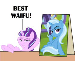 Size: 1100x900 | Tagged: applejack's sign, best waifu, crossing the memes, dreamworks face, edit, female, lesbian, mare, meme, pony, road to friendship, safe, shipping, starlight glimmer, startrix, the cutie re-mark, trixie, unicorn, waifu, welcome home twilight