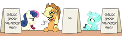 Size: 1190x358 | Tagged: apple, applejack, applejack's hat, applejack's sign, artist:mkogwheel edits, bon bon, cowboy hat, cute, distorted, earth pony, edit, female, food, hat, help, howdy, lesbian, lyrabon, lyra heartstrings, mare, marriage proposal, meme, pony, ring, safe, shipping, sign, sweetie drops, unicorn, wedding ring