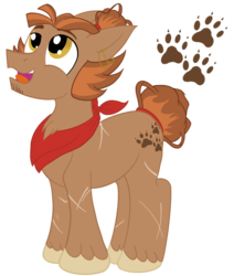 Size: 1100x1300 | Tagged: artist:sixes&sevens, bandana, ear piercing, earring, earth pony, jewelry, magnus burnsides, male, mane bun, piercing, ponified, pony, safe, scar, sideburns, simple background, the adventure zone, transparent background