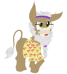 Size: 1000x1100 | Tagged: artist:sixes&sevens, clothes, donkey, flower, flower in hair, glasses, hairband, hawaiian shirt, male, merle highchurch, ponified, pony, safe, scrunchie, shirt, simple background, the adventure zone, transparent background