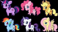 Size: 13722x7496 | Tagged: safe, artist:squeemishness, applejack, fluttershy, pinkie pie, rainbow dash, rarity, twilight sparkle, earth pony, pegasus, pony, unicorn, applejack's hat, backwards cutie mark, chibi, cowboy hat, cute, dashabetes, diapinkes, female, hat, jackabetes, looking at you, mane six, mare, open mouth, raribetes, shyabetes, simple background, smiling, spread wings, transparent background, twiabetes, unicorn twilight, wings