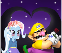 Size: 1312x1125 | Tagged: safe, artist:daniotheman, artist:rulette, trixie, human, equestria girls, barely eqg related, blushing, crossover, crossover shipping, floral head wreath, flower, flower in hair, nintendo, rose, shipping, super mario bros., wario
