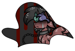 Size: 780x538 | Tagged: safe, artist:crazydoodleman144, artist:hunterthewastelander, oc, oc only, oc:rimfire cazador, alicorn, pony, alicorn oc, chains, collaboration, collar, crying, frown, male, simple background, solo, stallion, transparent background