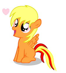 Size: 1072x1184 | Tagged: safe, artist:avchonline, oc, oc only, oc:sean, pegasus, pony, colt, heart, male, open mouth, sitting, smiling, solo