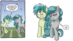 Size: 715x398 | Tagged: safe, artist:tonyfleecs, idw, sandbar, swift foot, earth pony, pony, spoiler:comic, spoiler:comicfeatsoffriendship03, comic, dork, female, flirting, male, official comic, seduction, shipping fuel, shrunken pupils, simple background, speech bubble, swiftbar, thracian, white background